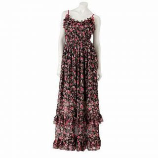 Candies Floral Chiffon Ruffle Maxi Dress Boho XS s M L