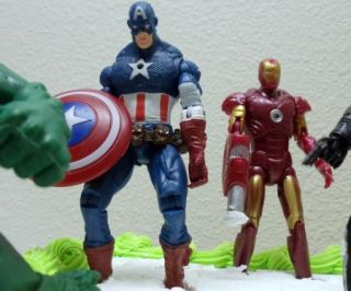 Avengers Birthday Cake Topper w Hulk, Captain America, Iron Man, Thor