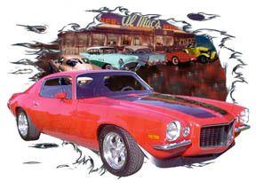 1970 Red Chevy Camaro Custom Hot Rod Diner T Shirt 70