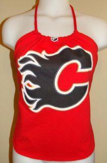 Womens Calgary Flames NHL Hockey Shirt Halter Top DIY