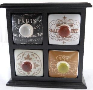 Ceramic Draws French Paris Motif Counter Cabinet Kitchen Storage