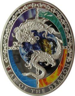 Lunar Calendar Chinese Dragon 1$ Niue Islands 2012 Silver Coin