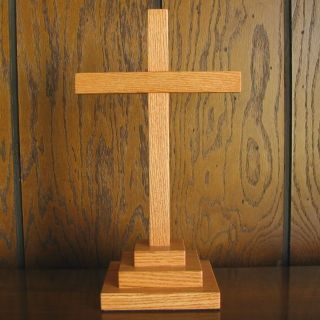 Handcrafted Red Oak Wood Calvary Cross Faith Hope Love Charity