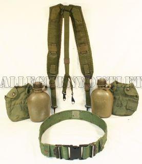 Military USMC Web Pistol Belt Suspenders Canteens Set