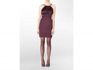 Calvin Klein Womens Petite Stretch Satin Embellished Dress