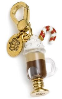 Couture Gold Ed Hot Chocolate Charm RARE Glass Cup Candy Cane