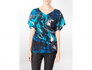 Calvin Klein Petite Abstract Print Smocked V Neck Top Silk Womens