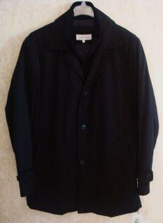 Mens L Calvin Klein Black Zip Button Front Trench Coat Jacket Dress