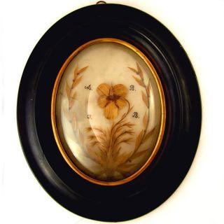 Antique French Sentimental Mourning Miniature Portrait Hair Art