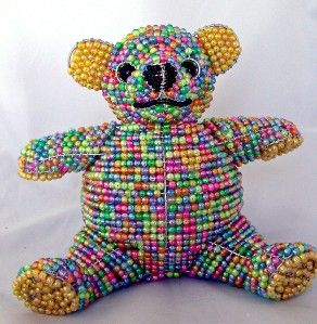 Teddy Bear Lamp Childs Wire Beaded Sculpture Beadworx