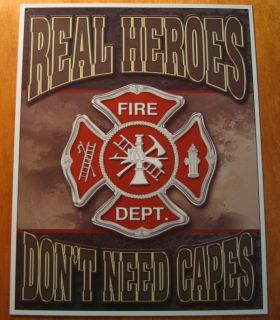 Real Heroes DonT Need Capes Fireman Fire Station Department Crest