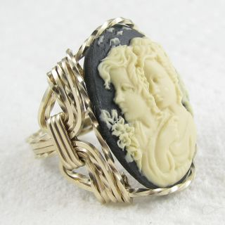 Sister Friends Cameo Ring 14k Rolled Gold Custom Jewelry