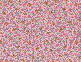 Quilt Quilting Fabric Calico Butterfly Floral Pink Purple Green Cotton