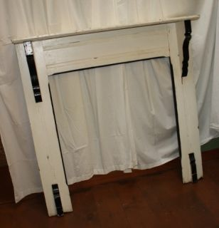 Art Deco Antique Fireplace Mantel White Black Painted Wood