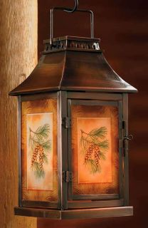 New in Box Pinecone Pine Cone Rustic Lodge Candle Lantern