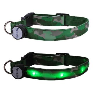 Green Camo Lighted LED Pet Dog Collar Steady Glow or Flashing Lights