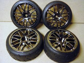 10 TITANIUM FINISHED TOURING CAR WHEELS TYRES 4272 TAMIYA TT01 ON ROAD