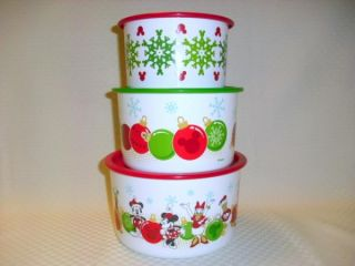 Holiday Disney Mickey Minnie Mouse Stack Canister Set New