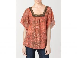 Calvin Klein Womens Petites Embellished Abstract Print Flutter Sleeve
