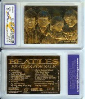 BEATLES FOR SALE ALBUM COVER 23KT GOLD CARD MINT 10 HTF