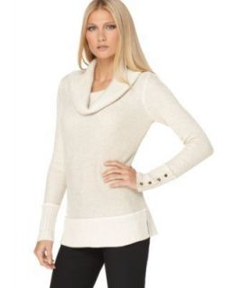 Calvin Klein NEW Ivory Metallic long Sleeves Cowl Neck Pullover