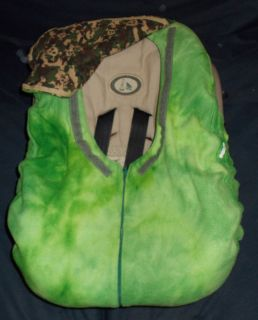 Baby Infant Boy Car Seat Cover Green Fleece Camo Skull Flannel