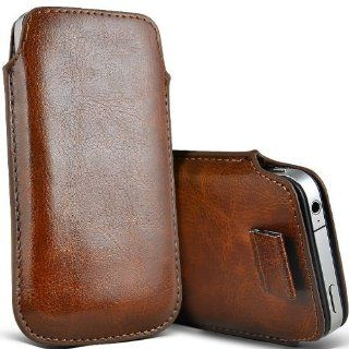 Brown Pull Tab Leather Pouch Case Skin Cover for Doro Phone Easy 610