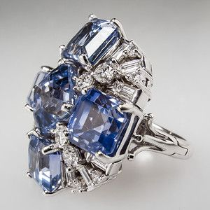 25 Carats Blue Sapphire & Diamond Cluster Cocktail Ring Solid 14K