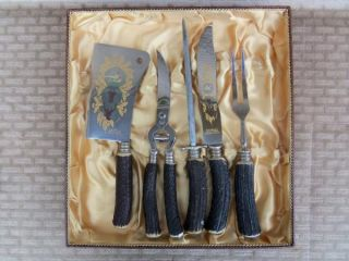 solingen germany 5pc carving set horn handles stainless steel blades