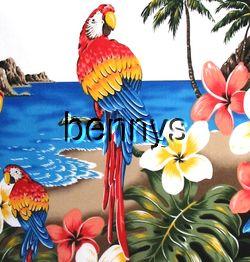 NEW Parrots beach border hawaiian shirt white XXL