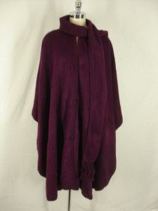 poncho PERU sweater cape 100% Alpaca plum purple Camargo plus one size
