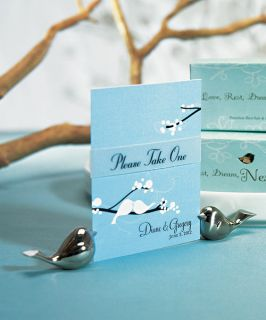 Love Bird Place Menu Card Table Sign Holders w Sliver Finish