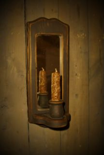 Gathering Wood Wall Mirror Candle Sconce~1 Spice Rolled Candle Nubby