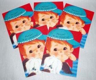 Vintage 1950s Cute Boy w Puppy Dog Fold & Send Valentines Day Cards