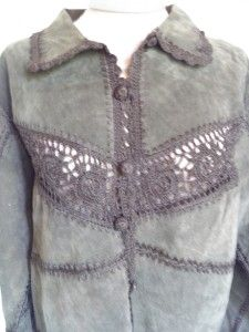 Vtg Black Leather Crochet Patchwork Cardigan Jacket L Hippie Boho
