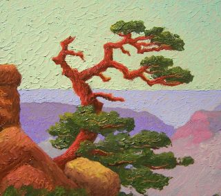 Glass, Grand Canyon Lone Cedar (Byxbe Sandzen) Start $1