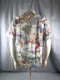 Spooner Reverse Print Caribbean Hawaiian Shirt Men Large Aloha