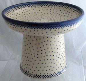 Polish Pottery Classy Cat Dog Pet Wet Canned Food Dish Bowl Misty Blue