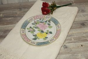 Made in Japan Cabinet Plate Pastel Flowers Yellow Pinks