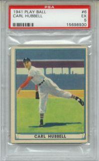1941 Play Ball Carl Hubbell 6 PSA 5 NY Giants HOF
