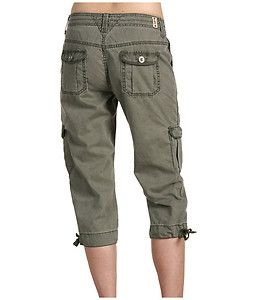 Jeans Petite Size Army Green Capitola Cargo Capri Pants 0002