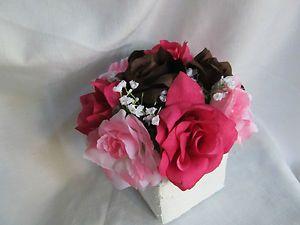 Brown Hot Pink Camo Silk Flower Cake topper Centerpiece Wedding Bridal