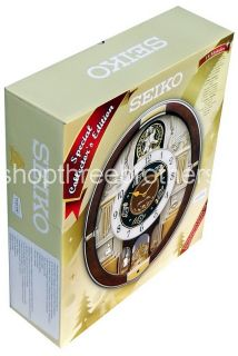 New Animated Musical Christmas Carol Wall Clock Seiko Melodies in