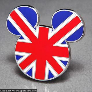 Pins Badge 2012 London England UK Mickey Mouse Ears Union Jack Flag