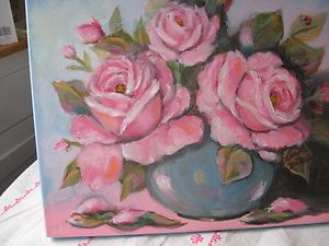 PINK ROSES OIL PAINTING DEWALD SHABBY COTTAGE ROMANTIC CHIC COTTAGE