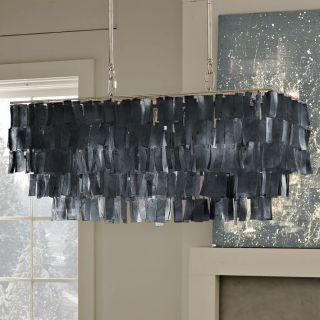 West Elm Large Rectangle Hanging Capiz Pendant Gray Chandelier Pottery