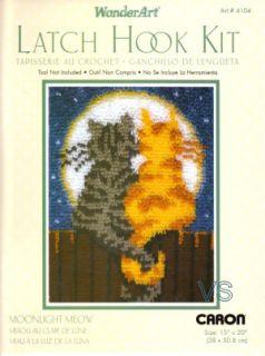 Caron Wonderart Latch Hook Kit 15 x 20 Moonlight Meow Rug Sale 4104