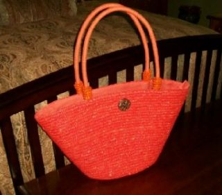 New CAPPELLI BRIGHT ORANGE Lined STRAW Beach BAG~PURSE~TOTE~EXTRA