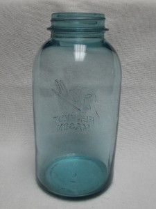 Antique Vintage Ball Mason Canning Jar, Aqua Blue Glass   Half Gallon