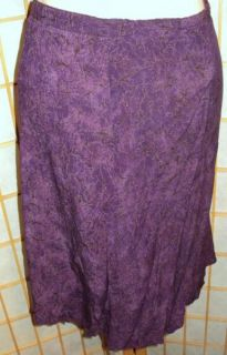 Carole Little Purple Black Rayon Skirt Tagged 16 Elastic Is Stretched